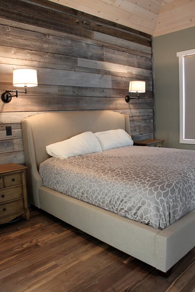 Barn wood with reading lights in the master bedroom