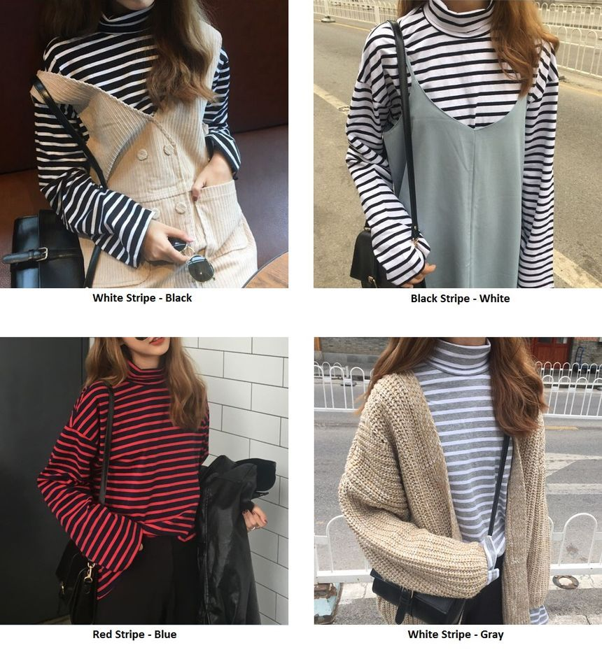 bf81f583d690 Buy Cloud Nine Striped Turtleneck T-Shirt at YesStyle.com! Quality products  at remarkable prices. FREE Worldwide Shipping available!