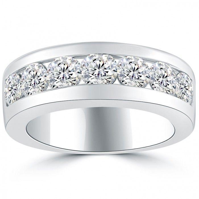 2 10 Carat Natural Diamond Mens Wedding Band Ring 14k White Gold Men Ring Mens Diamond Wedding Bands Rings Mens Wedding Bands Mens Wedding Bands