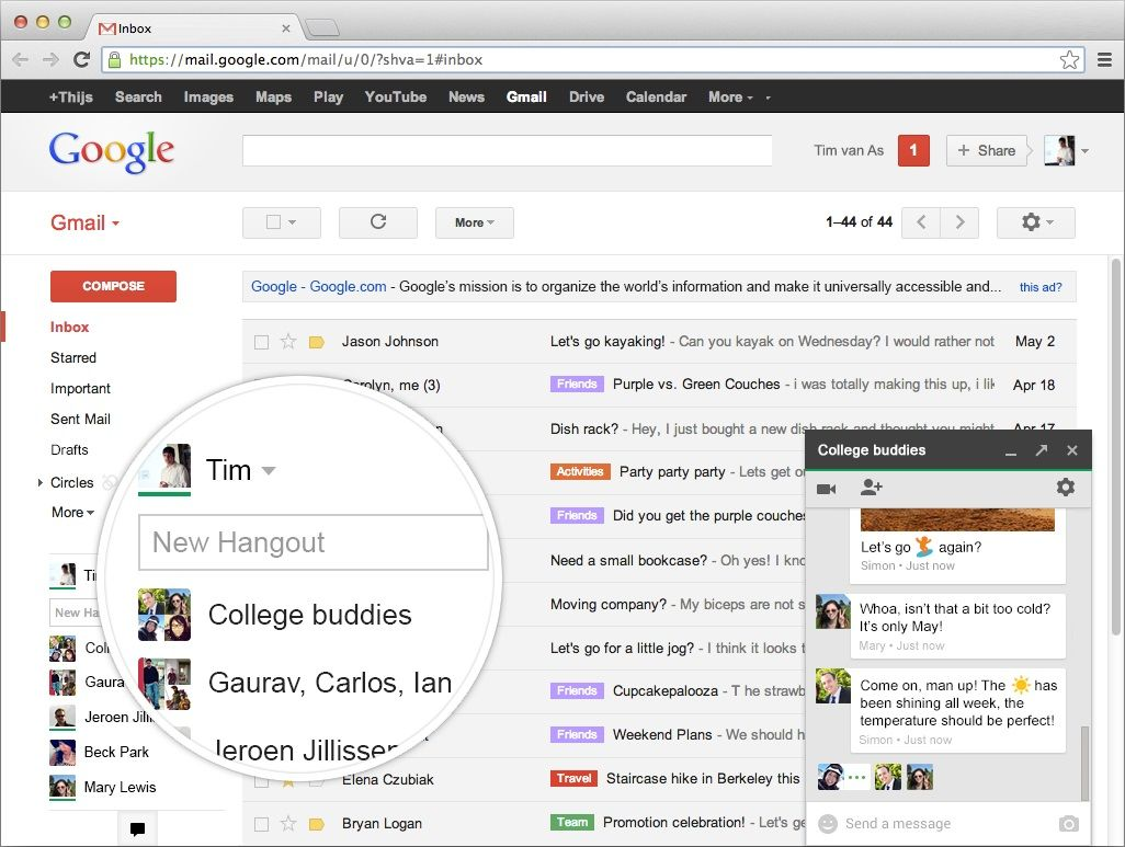 Voice Calls Return To Gmail Via Hangouts Google Hangouts Google Gmail Hangout