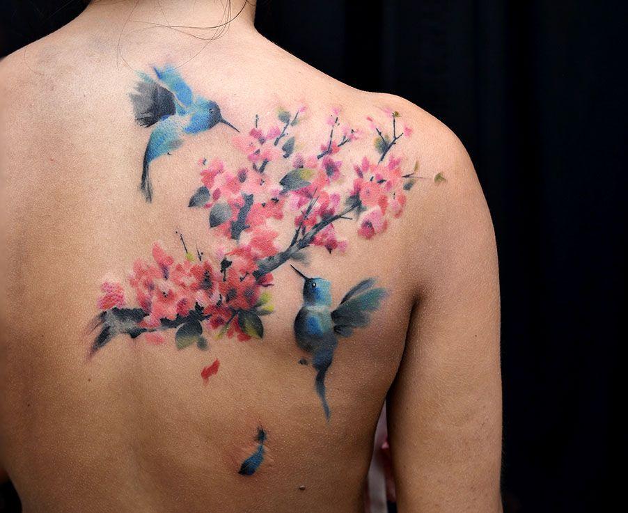 Hummingbird tattoo by Pete Zebley Blossom tattoo, Cherry