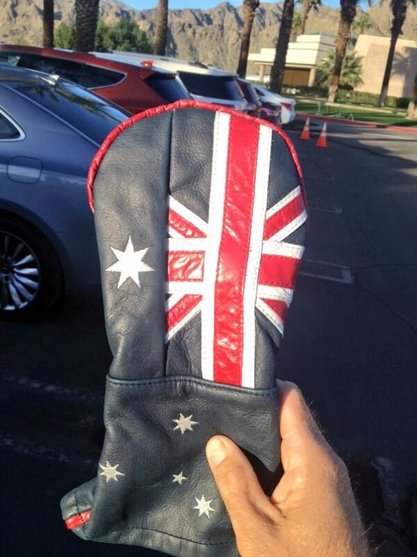 """PGA Tour player Stuart Appleby says he's """"cracking"""" a new driver cover festooned with the design if the flag of his native Australia."""