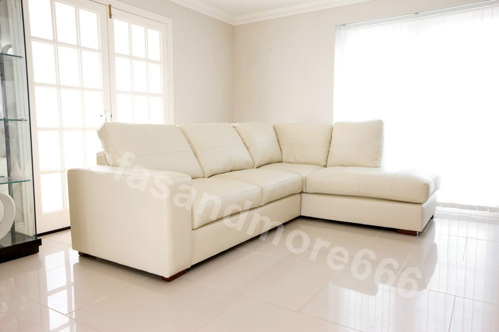 Brand New Westpoint Corner Sofa Cream Real Leather Right Hand Side