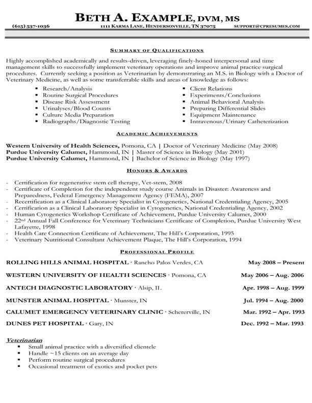 Resume format veterinary doctor resume format and sample resume yelopaper Gallery