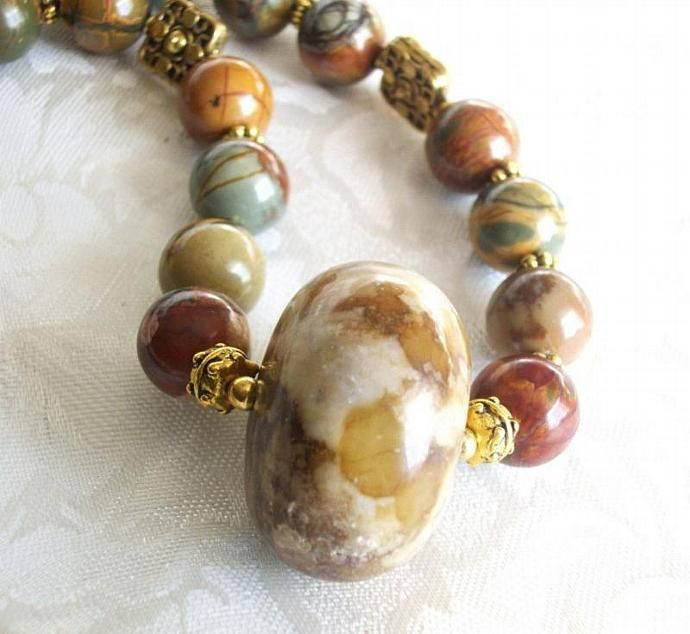 Gemstone necklace and earring jewelry set, Western style Picasso Jasper and quartz in browns by dixiedazzletoo, $45.89 USD