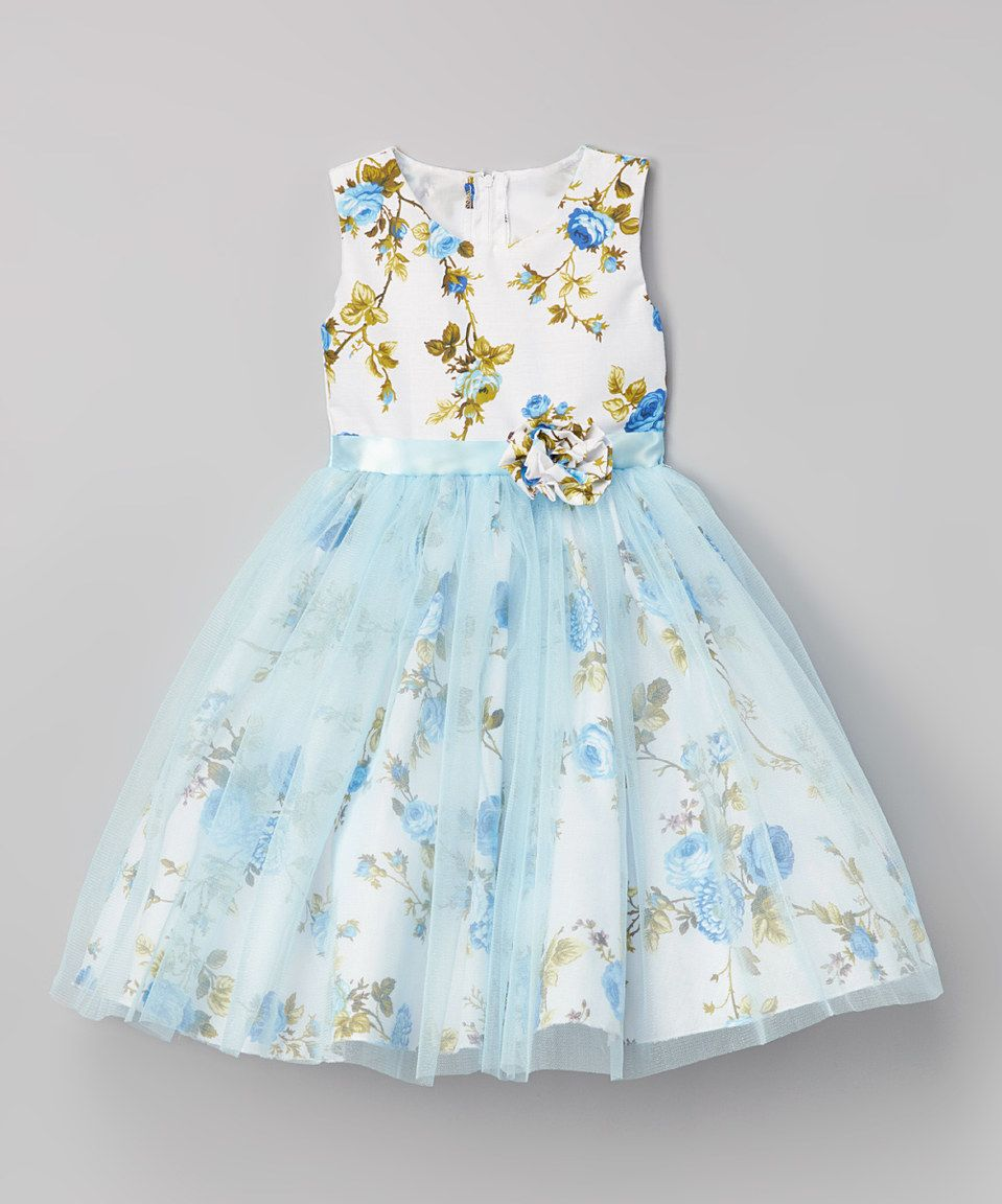 Love This Kid Fashion Blue Floral Sheer Overlay Dress