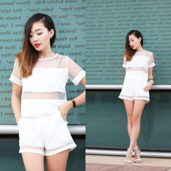 Missguided Mesh Paneled Top, Missguided Organza Shorts, Missguided Cara Sandals