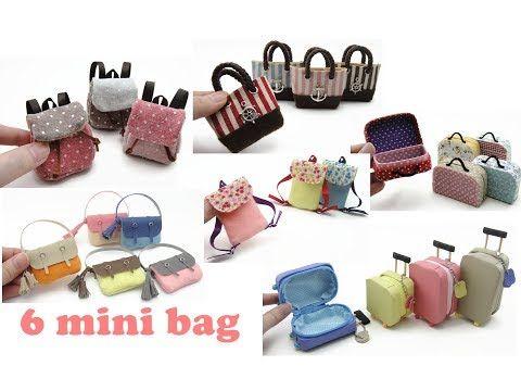 6 Diy Miniature Mini Bags Backpack Handbag Trolley Bag Luggage