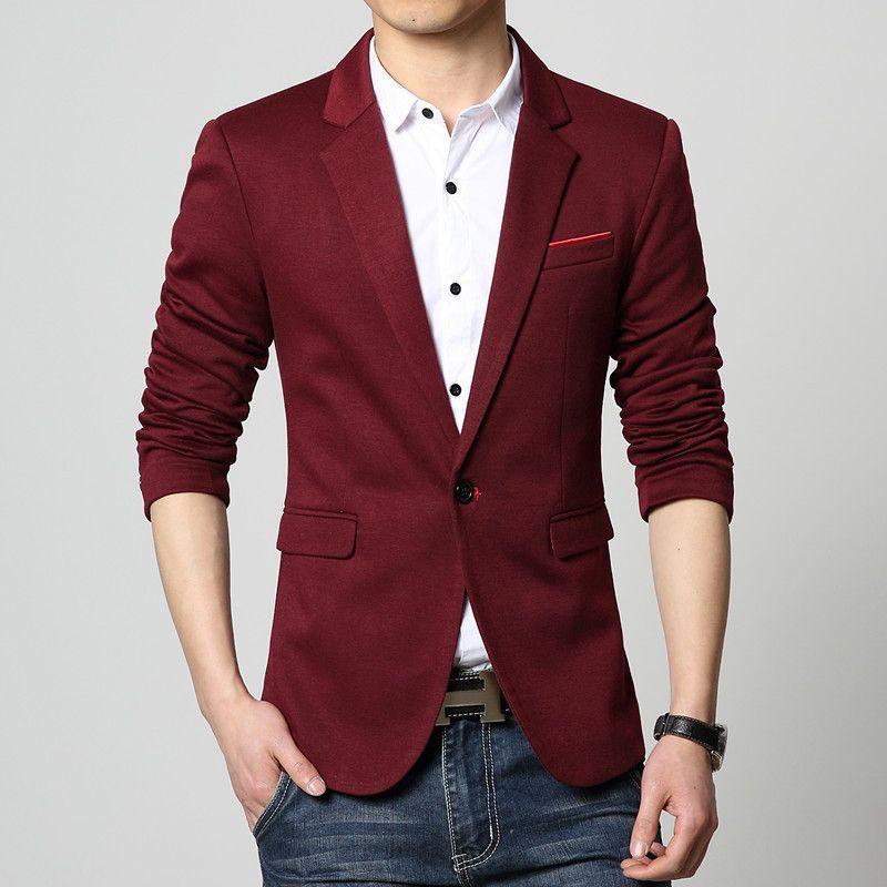 4a36f2b5ef550 Slim-Fit Casual Color-Block Single-Button Blazer Men s Jacket M-6XL 6 Colors