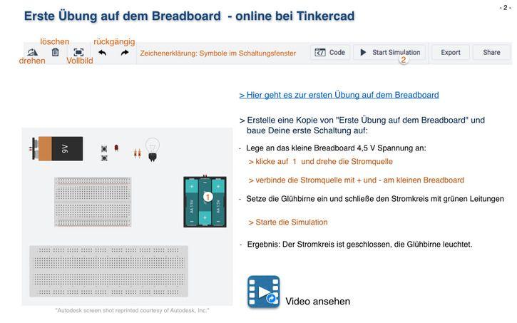 Circuit design Erste Übung auf dem Breadboard   Tinkercad ...