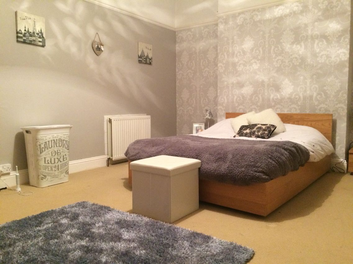 shades of grey  feature wall using Josette wallpaper  Laura Ashley  paint   Perfectly Taupe  Dulux with accessories from Dunelm  B Q and Primark. Bedroom makeover  shades of grey  feature wall using Josette