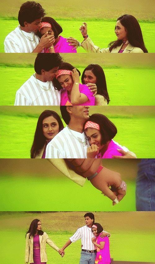 A Very Cute Scene From Kuch Kuch Hota Hai Shah Rukh Khan Kajol And Rani Mukherji Kuch Kuch Hota Hai Bollywood Memes Shah Rukh Khan Movies