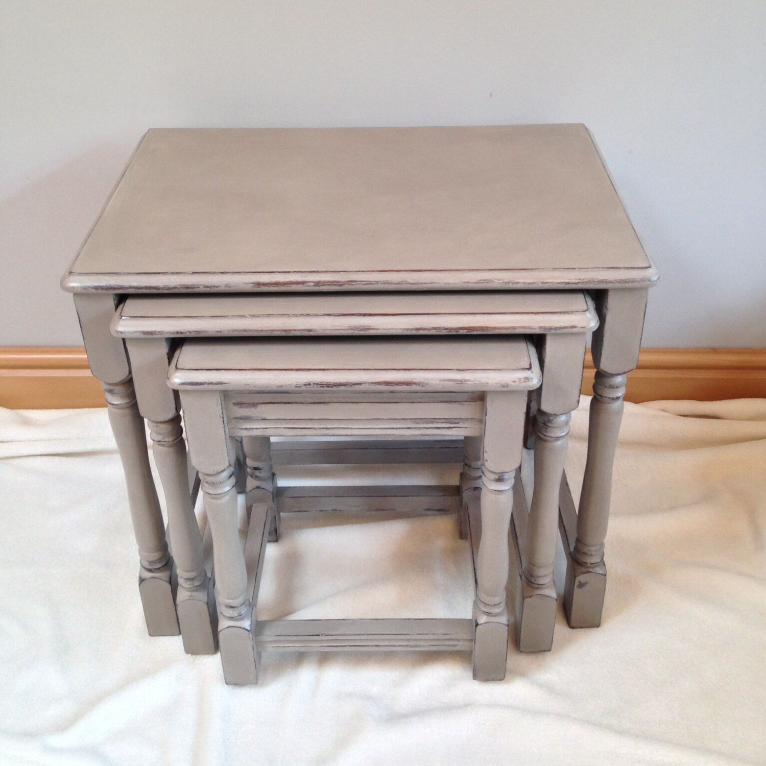 Shabby Chic Nest Of Tables In Annie Sloan French Linen Shabby