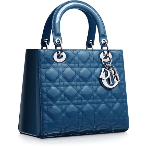 LADY DIOR Cruise blue quilted patent leather 'Lady Dior' bag ❤ liked on Polyvore