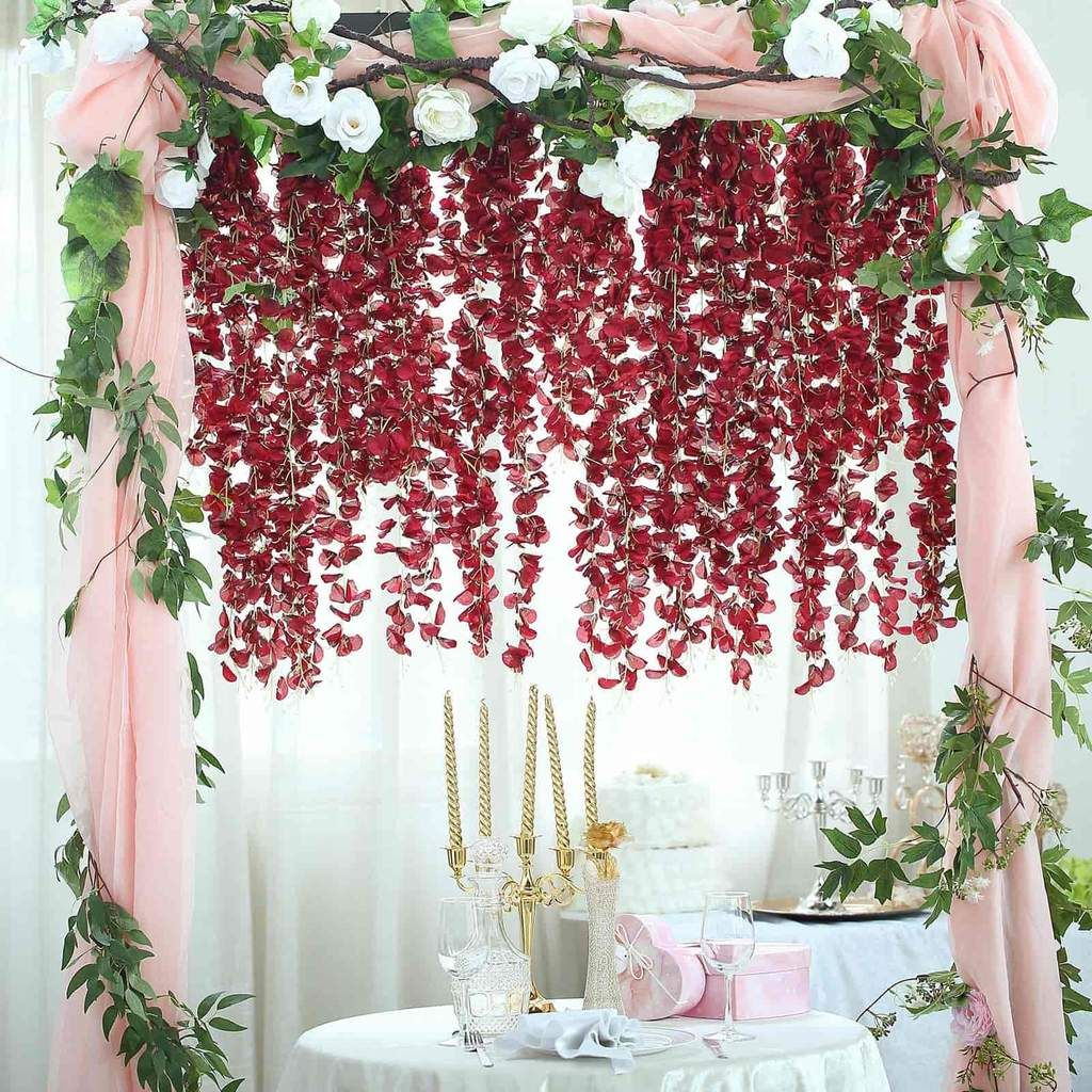 42 Wine Artificial Wisteria Vine Silk Hanging Flower Garland In 2020 Artificial Flowers And Plants Flowering Vines Artificial Silk Flowers