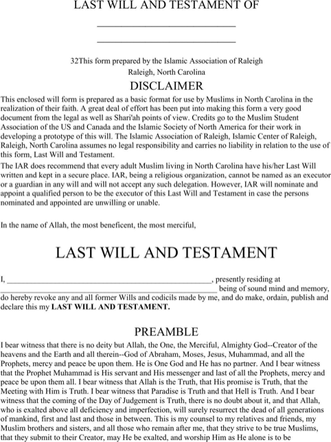Last Will And Testament Template Form Massachusetts
