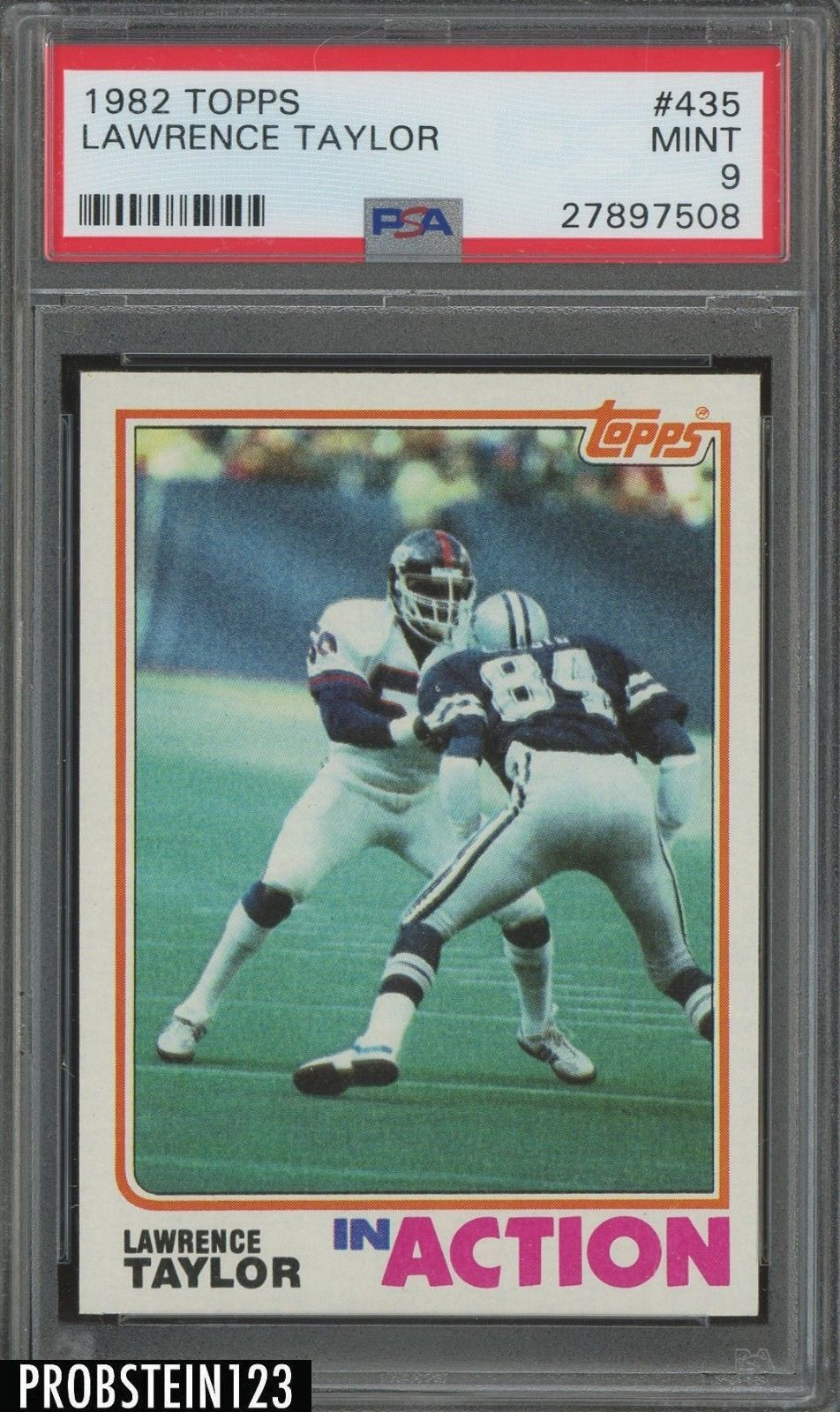 1982 Football Topps 435 Lawrence Taylor Action PSA 9 MINT