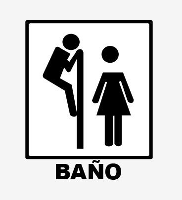 Vinilo Decorativo Bano Hombre Mujer Disenos Comicos Carteles De