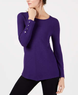 a3555642ab Alfani Petite Ribbed Snap-Detail Sweater