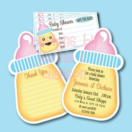 Printable Baby Shower Invite Thank You Card And Save The Date By