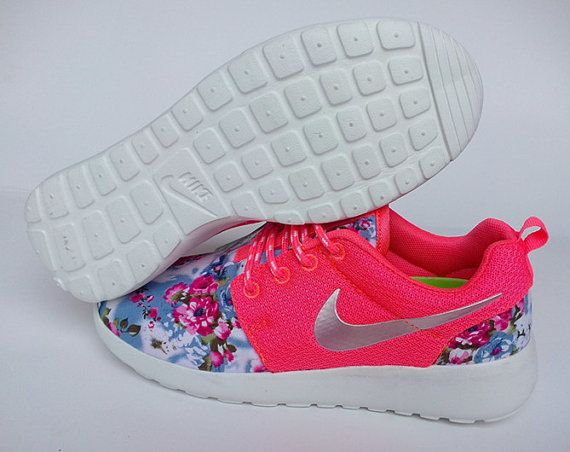 b8e7f62f0172 custom nike roshe pink run sneakers athletic women shoes with fabric floral