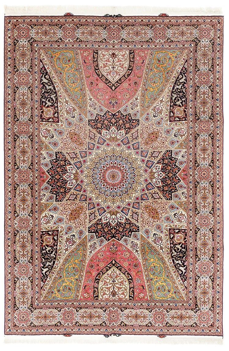 A TABRIZ CARPET WITH GEOMETRIC ISLAMIC DOME AND MIRRORED MIHRAB DESIGN
