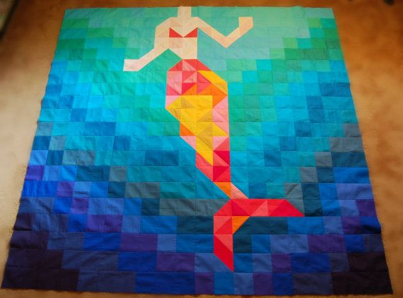 The Be a Mermaid Quilt Pattern by CoopCrafts on Etsy | mermaid ... : mermaid quilts - Adamdwight.com