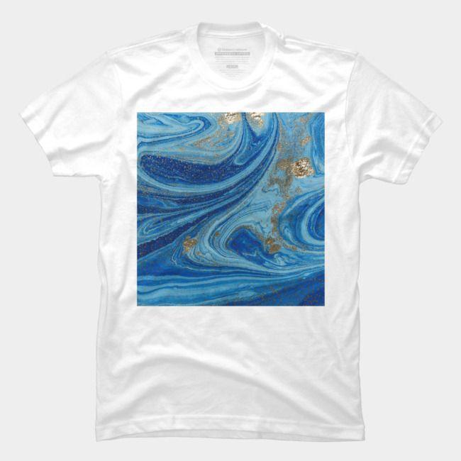 Navy Blue Gold Watercolor Art T Shirt Men S Perfect Tee Gold