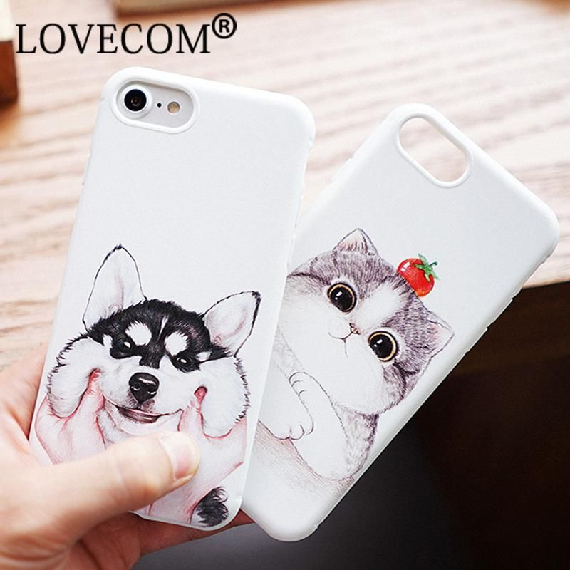 half off 74713 12607 Hot Sale Fashion Cute Cat Dog Case For Apple iPhone 6 6S Plus 7 7 ...