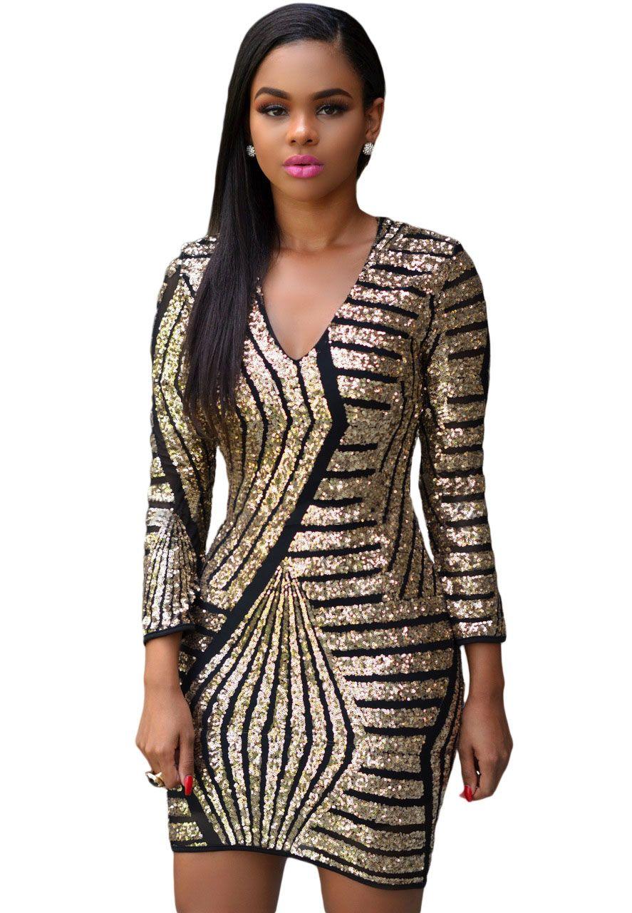 Long Sleeve Gold Sequin Dress | Sequins