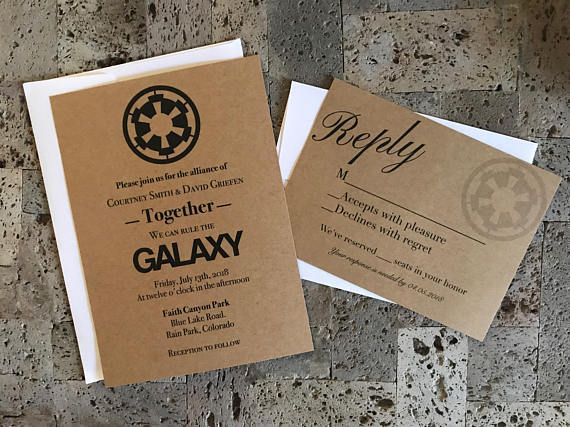 Rustic Star Wars Themed Wedding Invitation And Rsvp Card Set Star Wars Wedding Theme Star Wars Wedding Themed Wedding Invitations
