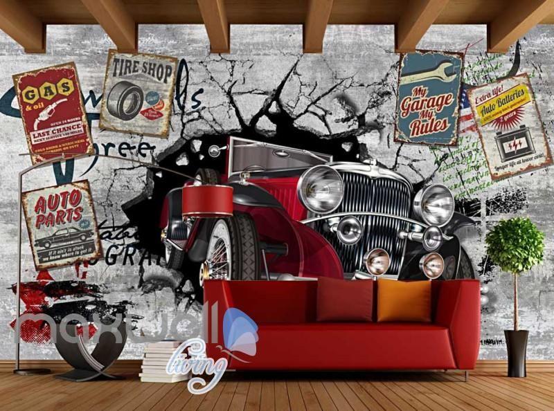 2fdd83668d4e9 3D Classic Car Vintage Garage Art Wall Murals Wallpaper Decals Prints Decor  IDCWP-JB-000001