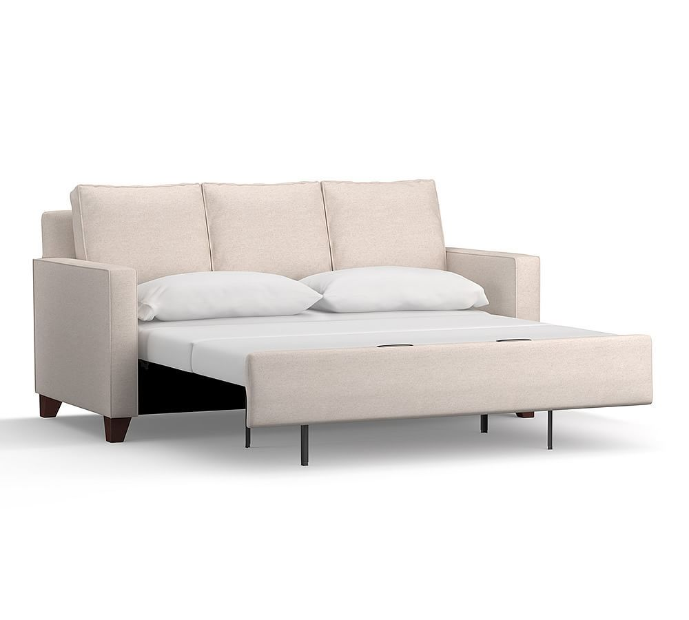 square sofa beds clean cameron arm upholstered deluxe sleeper polyester wrapped cushions sunbrella r performance herringbone oatmeal at pottery barn