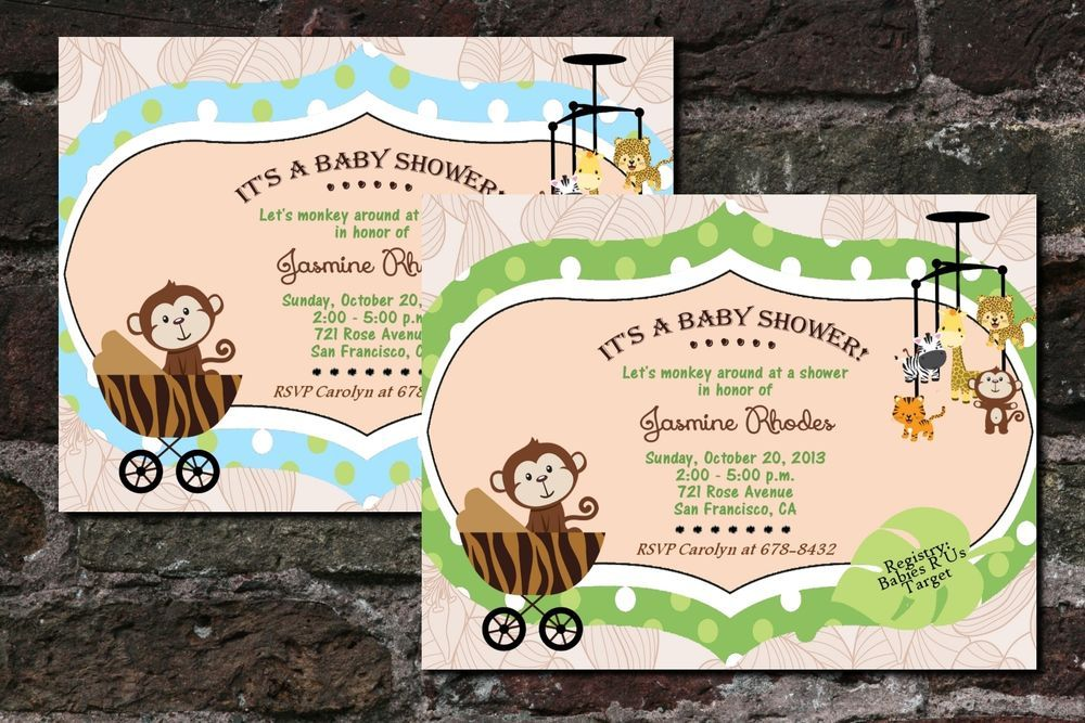 Jungle Baby Shower Birthday Party Invitations Monkey Mobile Giraffe Tiger Custom in Home & Garden, Greeting Cards & Party Supply, Greeting Cards & Invitations | eBay