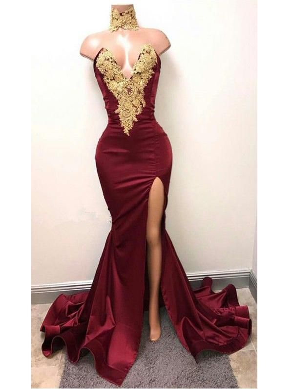 ae15979622774 Chic Burgundy Prom Dresses Trumpet/Mermaid Appliques Sexy Prom Dress/Evening  Dress JKS175
