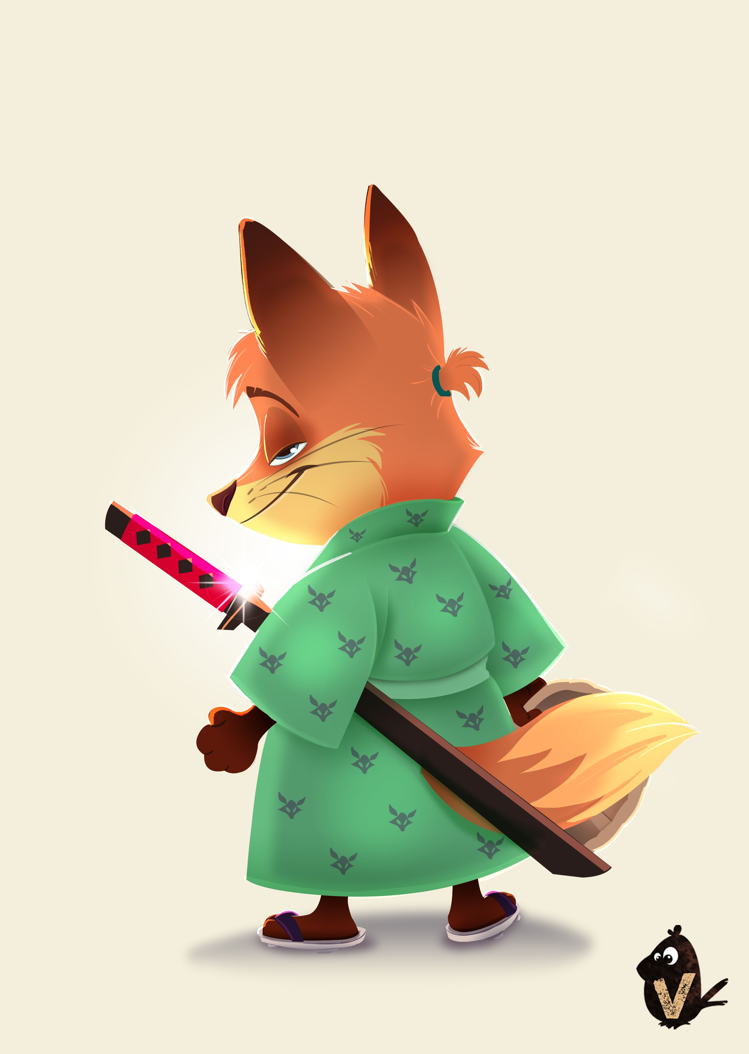 Girl fox character design is part of Dafoxygirl Animated Fox Character Design Designbyhumans Com - Fox Samurai