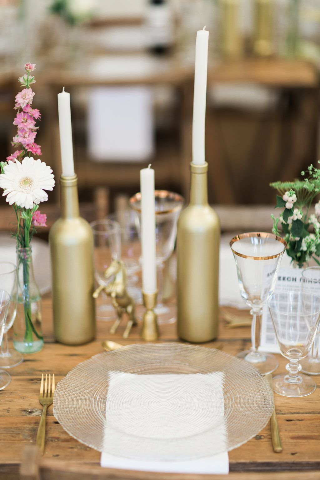 9c850cb2b3105 Gold Bottle Candle Holders // Needle & Thread Bridesmaids Dresses For A Pink  And Mint