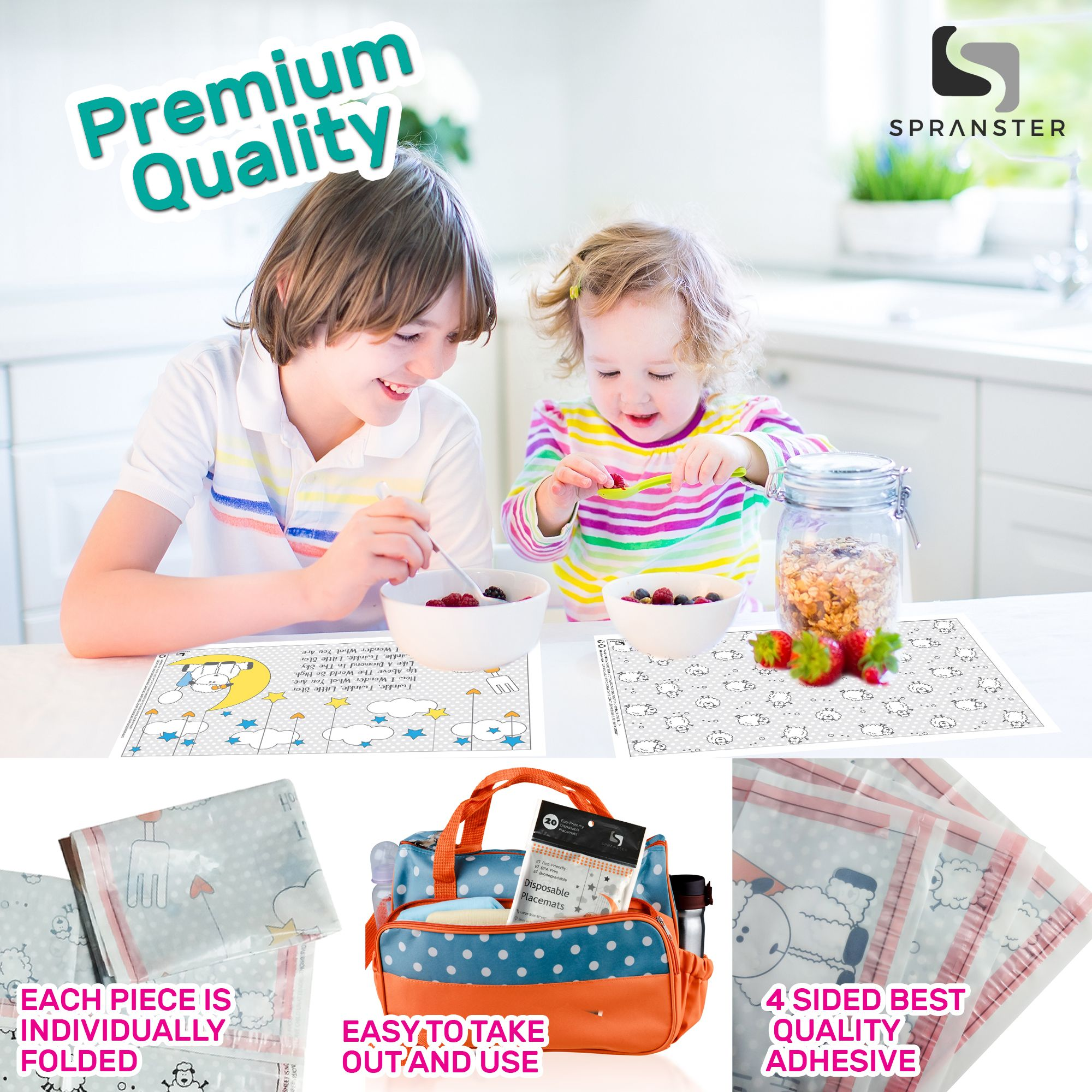 Spranster Disposable Placemats Individually Folded Easy To Use 4 Sided Adhesive Premium Quality Mats Grab It Now At Amazon Placemats Disposable Kids