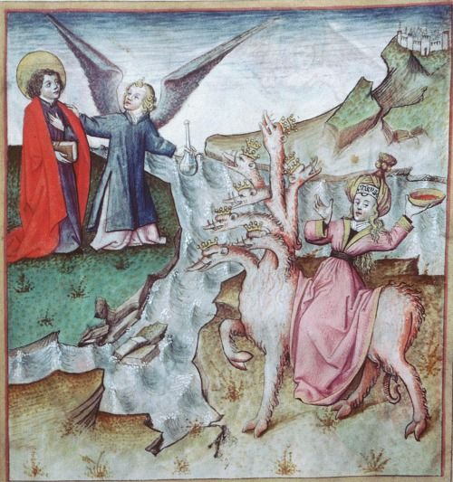 Lyon - BM - ms. 0439 f. 021. Apocalypsis figurata. Northern France, c.1450. The Whore of Babylon.