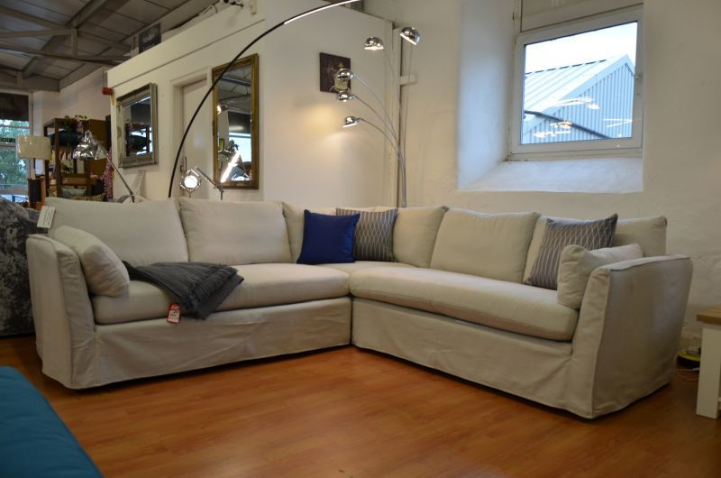 Large White Fabric Corner Sofa With