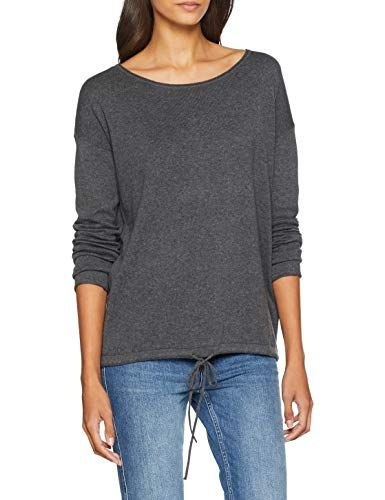 TOM TAILOR Casual Damen Pullover Basic Langarmpullover Grau