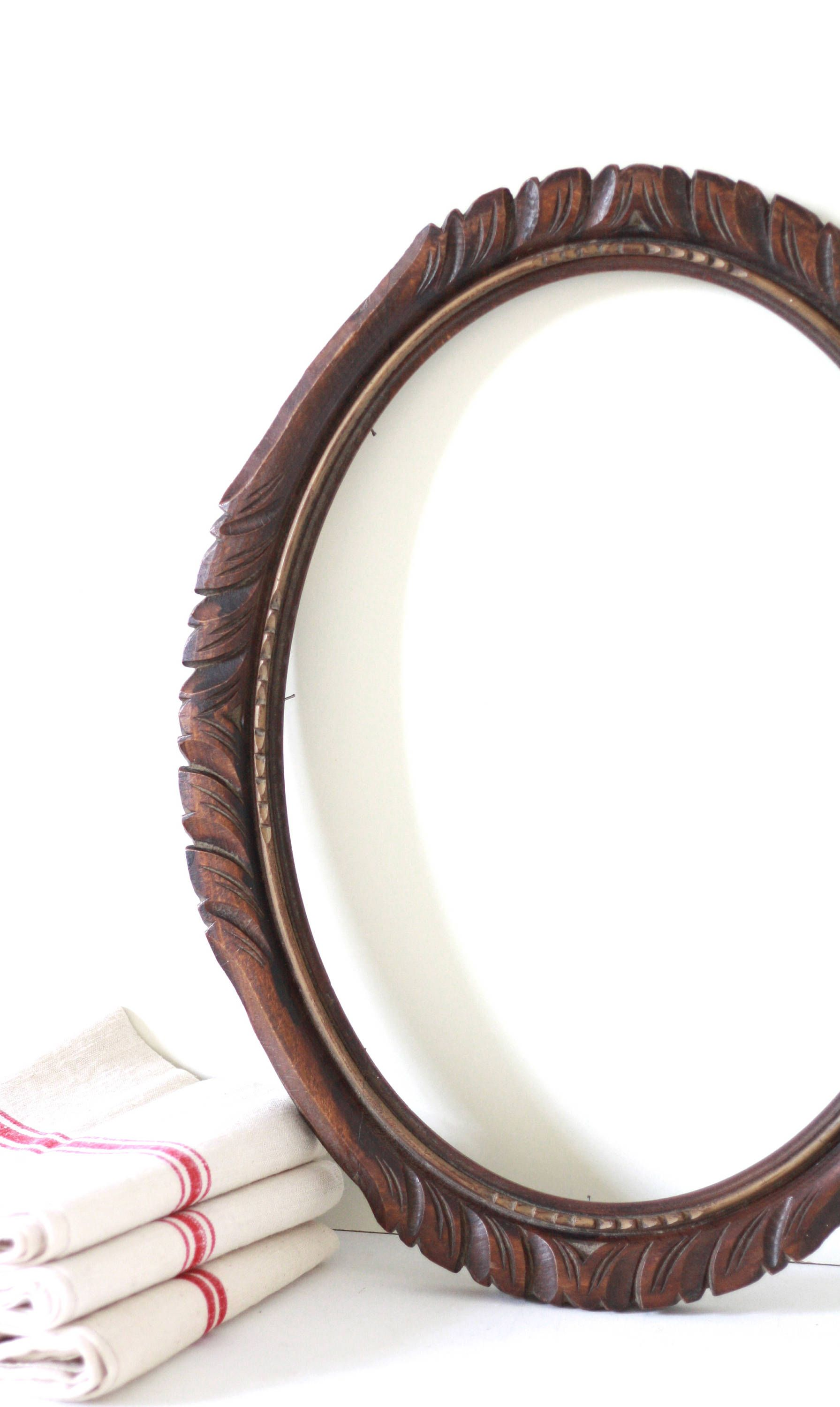 French Antique Large Wooden Oval Frame Wood Frame French