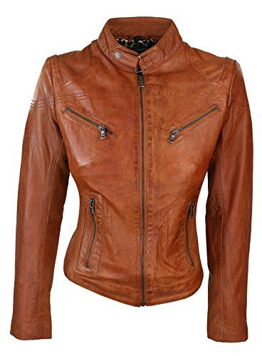 24 Womens Vintage Slim Fitted Soft Real Leather Ladies Biker Jacket UK Size 6