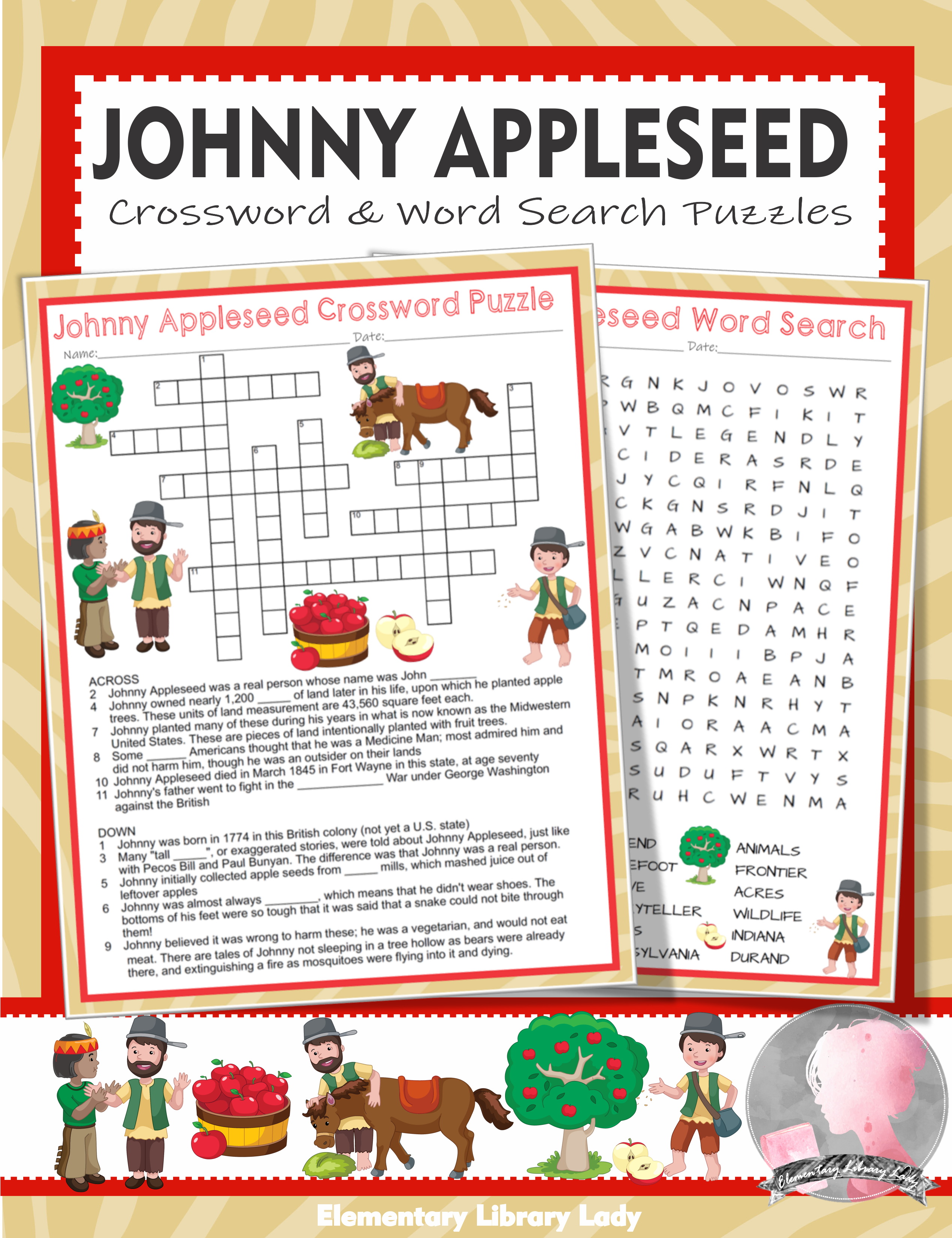 Johnny Appleseed Activities Crossword Puzzle And Word