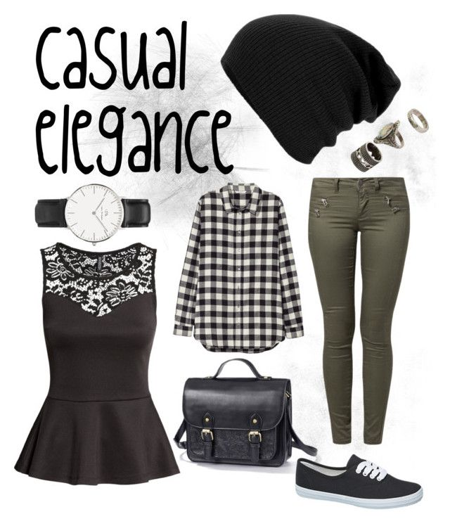 """casual elegance"" by panveggie1993 on Polyvore featuring ONLY, H&M and Daniel Wellington"