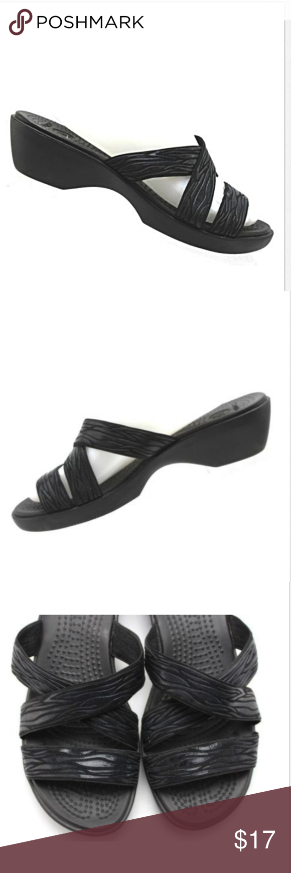 e10b6aab09d3 CROCS Black Wedge Sandals Slides CROCS WOMEN S WEDGE SANDALS Color  Black  Size  8 Standard