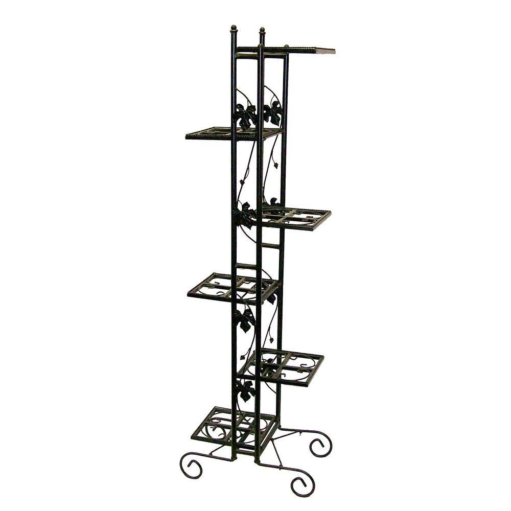 Oakland Living 6 Level Black Plant Stand 5199 Bk The Home Depot Black Plant Stand Plant Stands Outdoor Wrought Iron Plant Stands