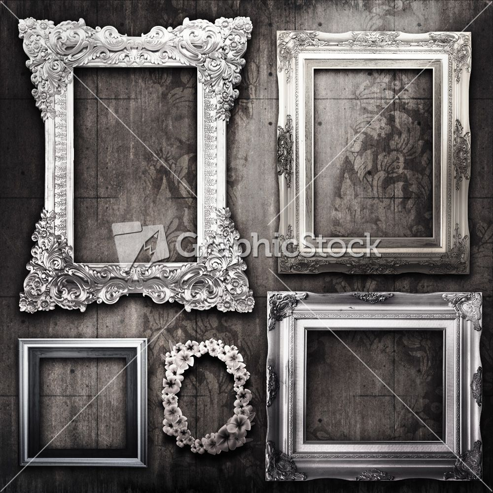 These #vintage picture #frames are silver over a wood textured ...