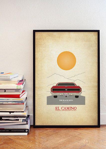 The Black Keys El Camino A3 Print Music Gig Poster 20 00 Via Etsy Ilustraciones Bandas Camino
