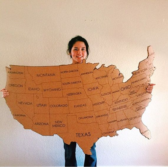 Us Map On Cork Board.Extra Large United States Corkboard Map State Names Usa Cork Map Pin